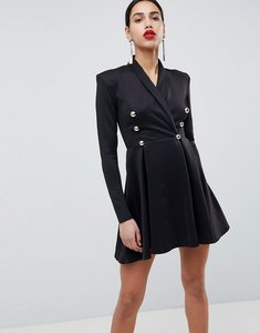 Read more about Club l long sleeve tuxedo skater dress - black
