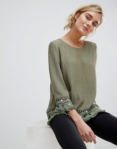 Read more about See u soon tunic top with coin embroidery - khaki