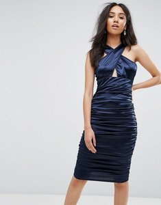 Read more about Ax paris navy ruched dress with a cross over cut out front - navy