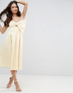 Read more about Asos scuba gingham bow front midi prom dress - yellow