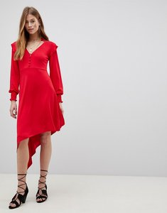 Read more about Asos shirred cuff button tea dress with asymmetric hem - red