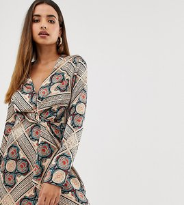 Read more about Missguided twist satin dress in paisley