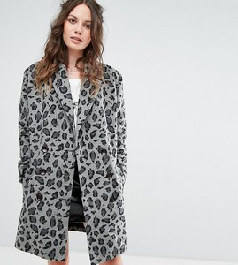 Read more about Glamorous tall smart coat in monochrome leopard print - grey leopard
