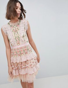 Read more about Needle thread high neck layered mini dress with embroidery - petal pink