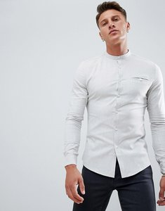 Read more about Asos design skinny work shirt with grandad collar and pocket in grey - grey