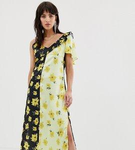 Read more about Dusty daze asymmetric shoulder midi dress in contrast floral