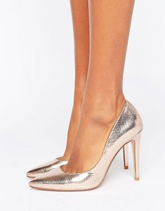 Read more about Dune london aiyana rose gold metallic heeled court shoe - rose gold
