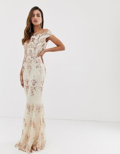 Read more about Goddiva off shoulder bardot placement lace maxi dress in blush and gold