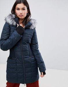 Read more about Y a s gathered waist parka with faux fur trim hood - carbon