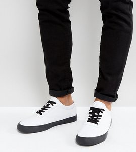 Read more about Asos wide fit lace up plimsolls in white canvas with black contrast details - white