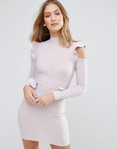 Read more about Lasula frill waist and shoulder dress - soft lilac