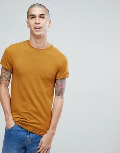 Read more about Asos muscle fit crew neck t-shirt with roll sleeve in tan - cigar