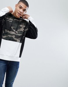 Read more about Asos oversized hoodie with colour block camo print - black