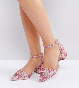 Read more about Asos saffron wide fit embellished heels - pink jacquard
