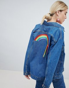 Read more about Chorus oversized denim jacket with rainbows ribbons back - mid denim blue