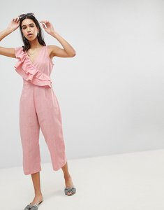 Read more about Lost ink jumpsuit with frill shoulder and tie waist - pink