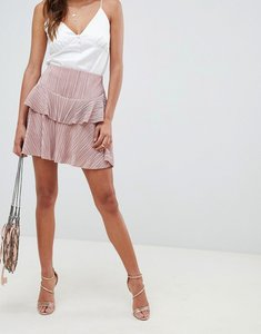 Read more about Asos design pleat tiered ruffle mini skirt - nude