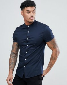 Read more about Asos design skinny shirt with grandad collar in navy - navy