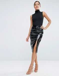 Read more about Asos pencil skirt in wet look - black