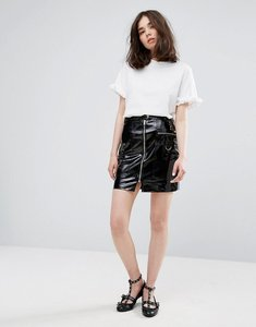 Read more about Plain studios mini skirt with zip front in vinyl - black pvc