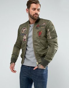 Read more about Schott nylon badge bomber jacket slim fit in green - khaki