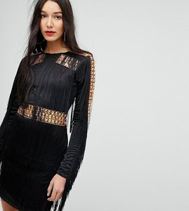 Read more about A star is born tall mini dress in jersey with embellished studs and fringing - black