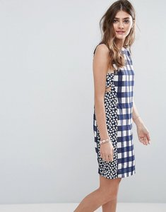 Read more about Asos mini dress in gingham mixed print with tab side detail - multi