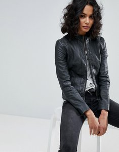 Read more about Boss casual classic leather biker jacket - dark blue