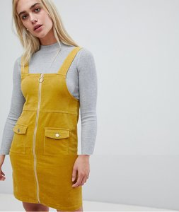 Read more about Pieces zip front pinafore dress - nugget gold