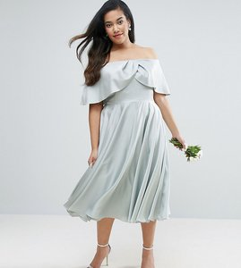 Read more about Asos curve wedding bardot fold prom midi dress - mint