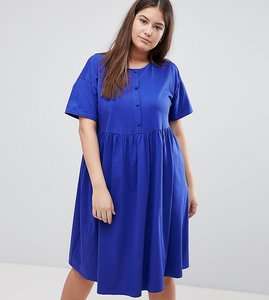 Read more about Asos design curve button front short sleeve midi smock dress - navy