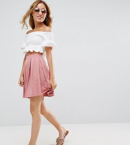 Read more about Asos petite mini skater skirt with box pleats - pink marl