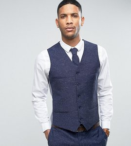 Read more about Noak skinny wedding suit waistcoat in linen nepp - navy