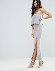 Read more about Missguided grey crepe frill side split maxi dress - grey