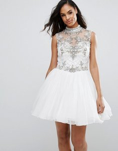 Read more about Jovani skater dress with embellished detail - white
