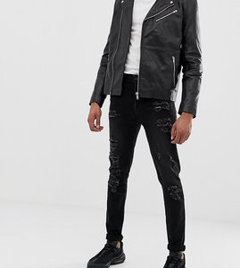 Read more about Asos design tall tapered jeans in 12 5oz in washed black with heavy rips - washed black