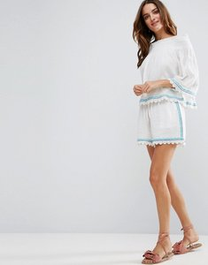 Read more about Liquorish cheesecloth embroidered beachwear shorts part of co-ord - purple