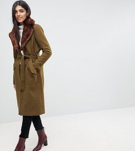 Read more about Vero moda tall long wool coat with faux fur collar - khaki