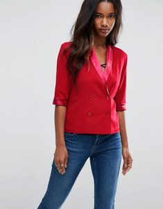 Read more about Unique 21 sateen contrast short sleeve blazer jacket - red
