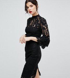 Read more about Paper dolls tall high neck midi lace dress with double frill sleeve - black