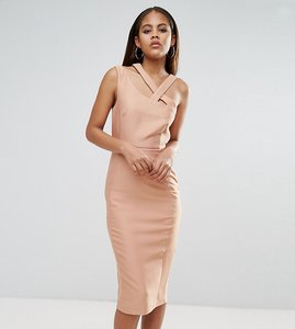 Read more about Asos tall strap back clean structured pencil dress - nude