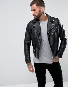 Read more about Replay leather biker jacket zip detail - black