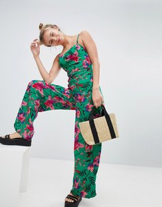 Read more about Bershka floral printed jumpsuit in green - green
