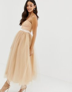Read more about Dolly delicious bandeau full prom midaxi dress in tan