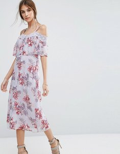 Read more about New look cold shoulder floral lace midi dress - purple pattern