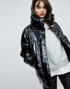 Read more about Monki vinyl padded jacket - black
