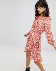 Read more about Vero moda printed ruffle wrap dress - spicy orange