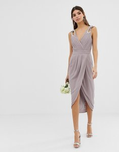 Read more about Tfnc wrap midi bridesmaid dress with embellished shoulder - grey