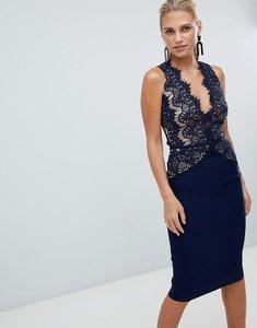 Read more about Rare london sleeveless eyelash lace midi dress - navy