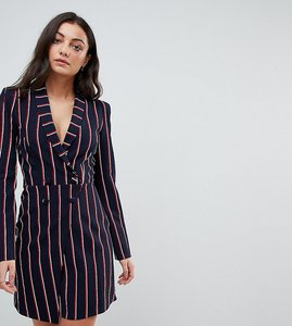 Read more about Asos tall premium stripe extreme shoulder tux dress with wrap skirt - stripe